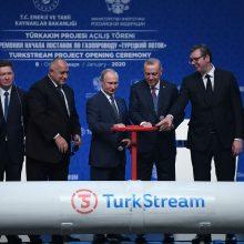 """V. Putinas kartu su kitais lyderiais oficialiai atidarė """"TurkStream"""