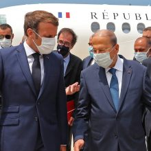 Po pražūtingo sprogimo Beirute E. Macronas atvyko į Libaną
