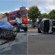 Avarija Savanorių prospekte: greitosios pagalbos automobilis apvirto ant šono