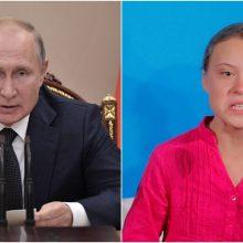 """G. Thunberg pašiepė V. Putino komentarus apie """"gerą mergaitę"""""""