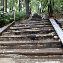 Į tvarkomą Vytauto parką – netvarkingais laiptais
