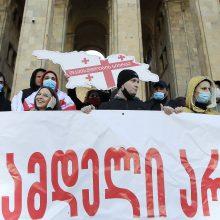 Sakartvele po opozicijos lyderio arešto protestuoja tūkstančiai žmonių