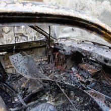 Sudegusiame automobilyje rastas žmogaus kūnas