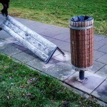Prieš Kalėdas Čečėnijos aikštėje vandalai suniokojo suolelį