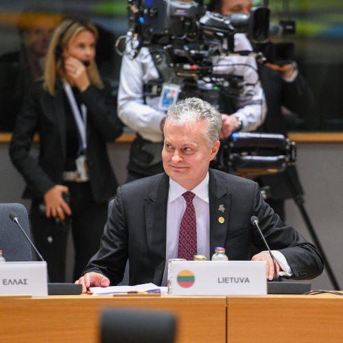 G. Nausėda – ES viršūnių susitikime  © R. Dačkaus / Prezidentūros nuotr.
