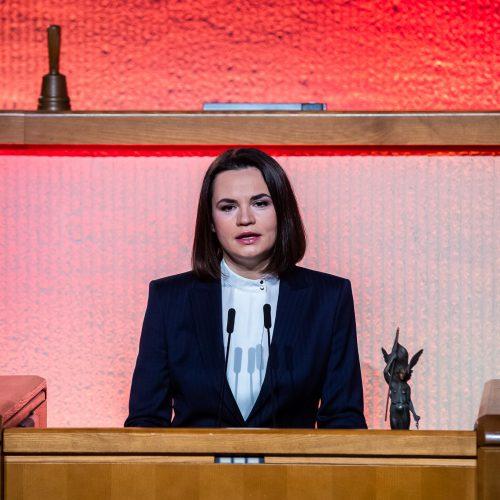 Laisvės premija – S. Cichanouskajai  © O. Posaškovos / Seimo kanceliarijos nuotr.