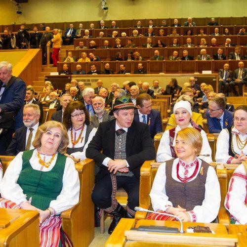 Kovo 11-osios minėjimas Seime <span style=color:red;>(2019)</span>  &#169; Irmanto Gelūno / Fotobanko, Dainiaus Labučio (ELTA) nuotr.