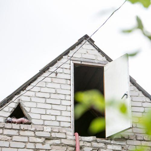 Gyvenamojo namo gaisras Aleksote  © Vilmanto Raupelio nuotr.