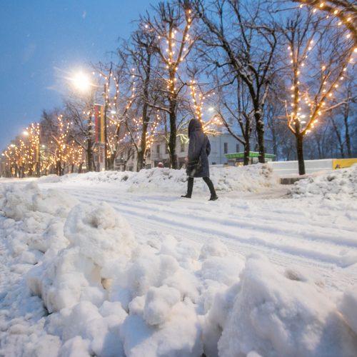 Kauną surakino sniego gniaužtai  © Vilmanto Raupelio nuotr.