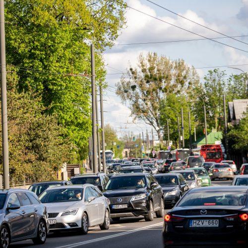 Automobilių spūstys Kaune  © Justinos Lasauskaitės nuotr.
