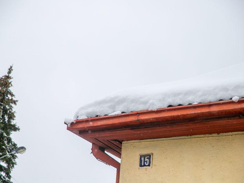 Gausus sniego sluoksnis padengė Kauno stogus