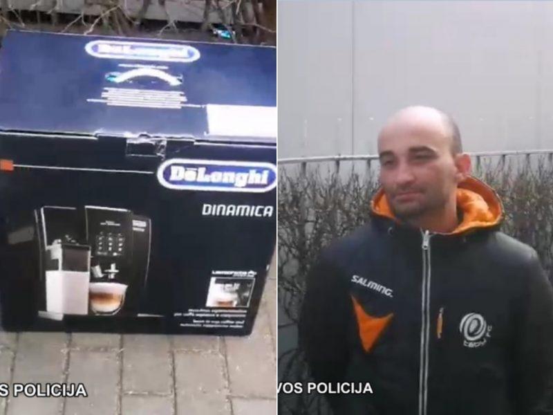 """Vagių """"versliukas"""": pavogtą kavos aparatą pardavinėjo turguje"""