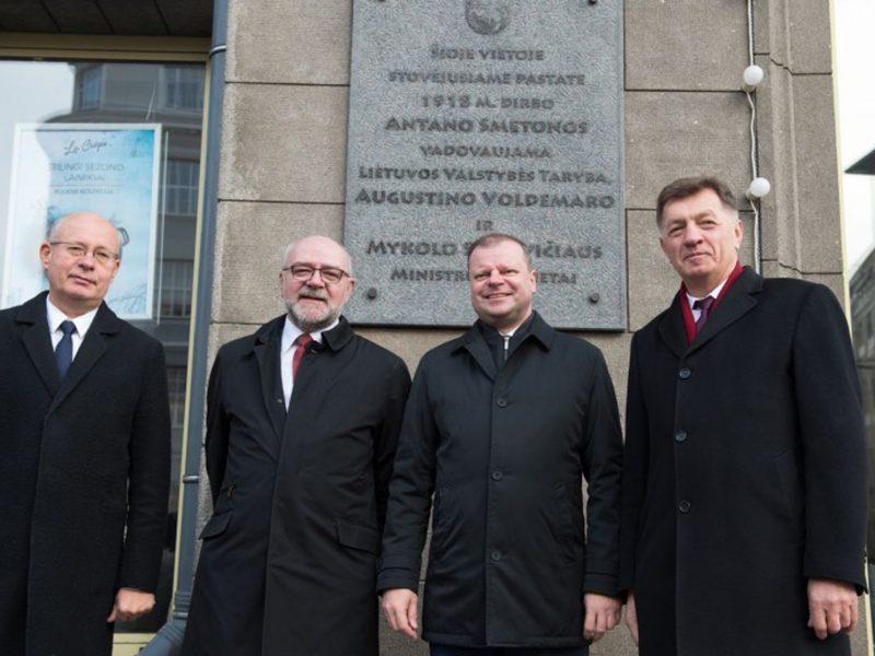 Atminimo lenta įamžinta pirmoji Lietuvos Vyriausybė