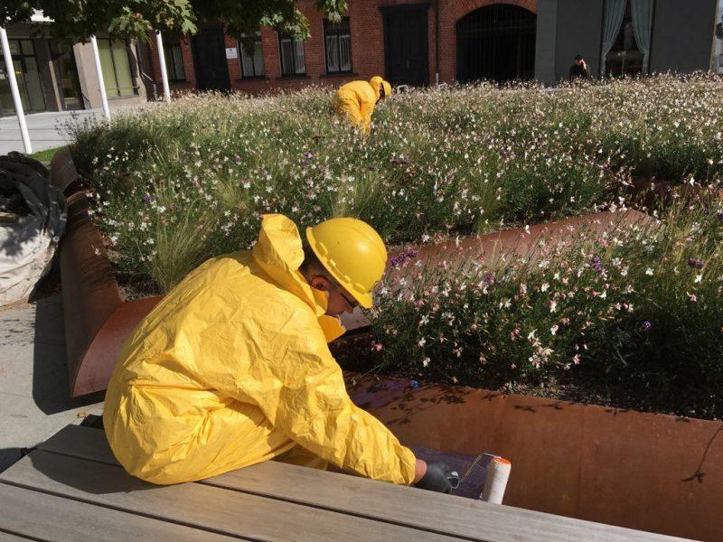 Surūdijusios Laisvės alėjos gėlių klombos grindinio daugiau nebegadins?