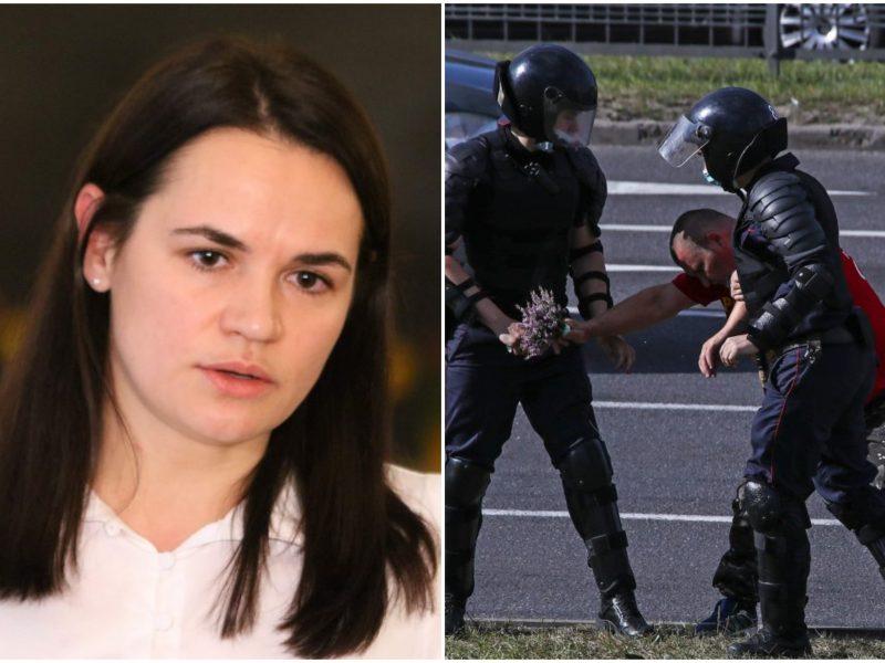 """S. Cichanouskaja: rengiamas """"juodasis sąrašas"""" tų, kurie kankina ir muša žmones"""