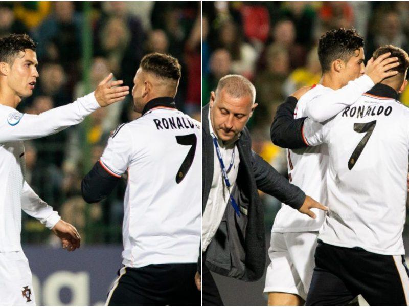 Paaiškėjo, kokio dydžio bauda skirta į aikštę pas C. Ronaldo bėgusiam aistruoliui