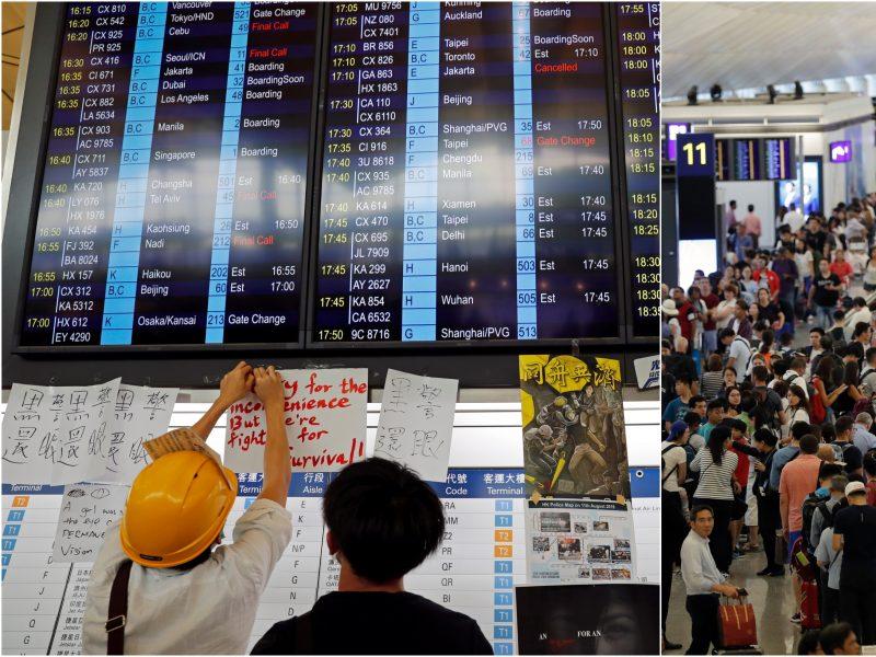 Honkongo oro uoste dėl protestų atšaukti visi skrydžiai