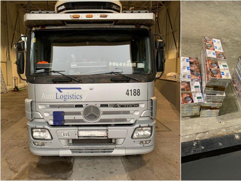 Medininkuose sulaikytas autovežio vairuotojas: puspriekabės rėmuose slėpė kontrabandą