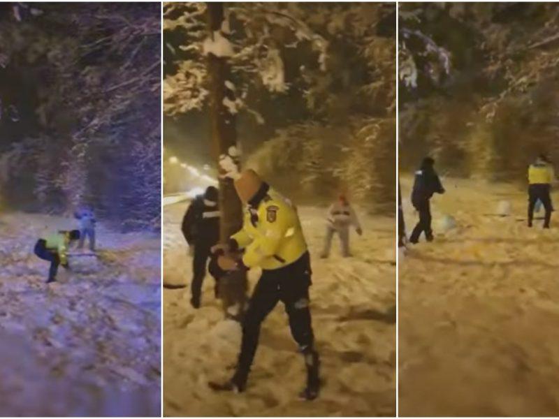 Užsienio pareigūnai neatsispyrė žiemos pramogoms: įsitraukė į sniego gniūžčių karą