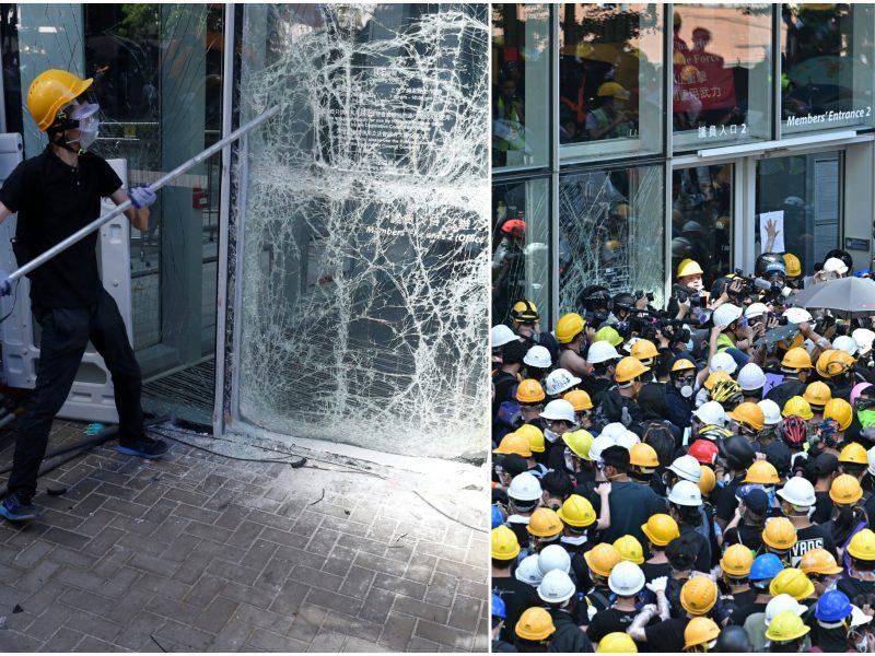 Neramumai Honkonge: protestuotojai įsiveržė į vietos parlamento pastatą