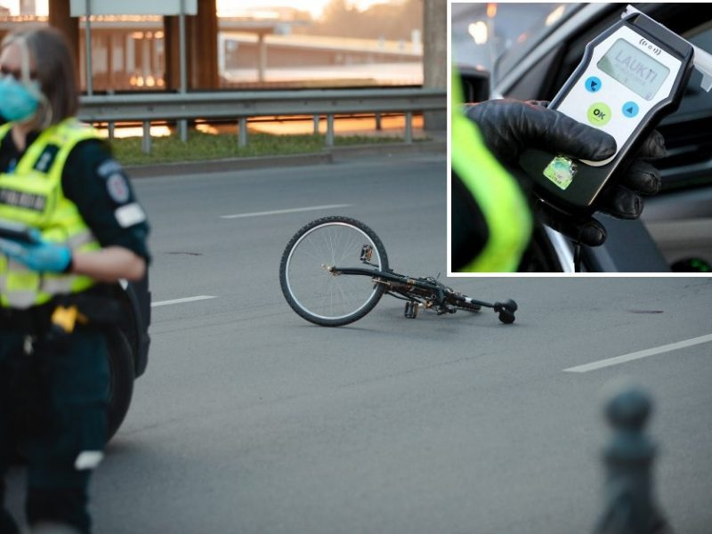 Girtas vairuotojas partrenkė dviratininką, bet nuvažiavo toliau, o tada kliudė BMW