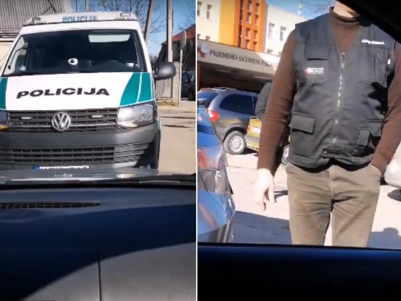 Ne juokais įsiuto: per paliktą pareigūnų automobilį negalėjo išvažiuoti pusvalandį