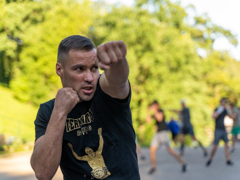 Vieša bokso treniruotė su V.Stapulioniu