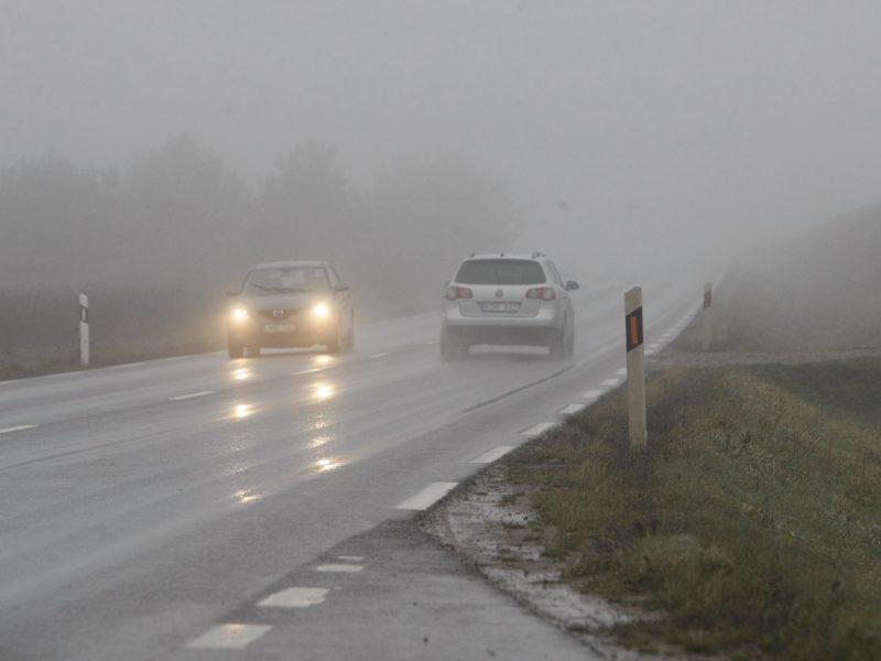 Dėmesio, vairuotojai: Klaipėdos ir Alytaus apskrityse eismą sunkina rūkas