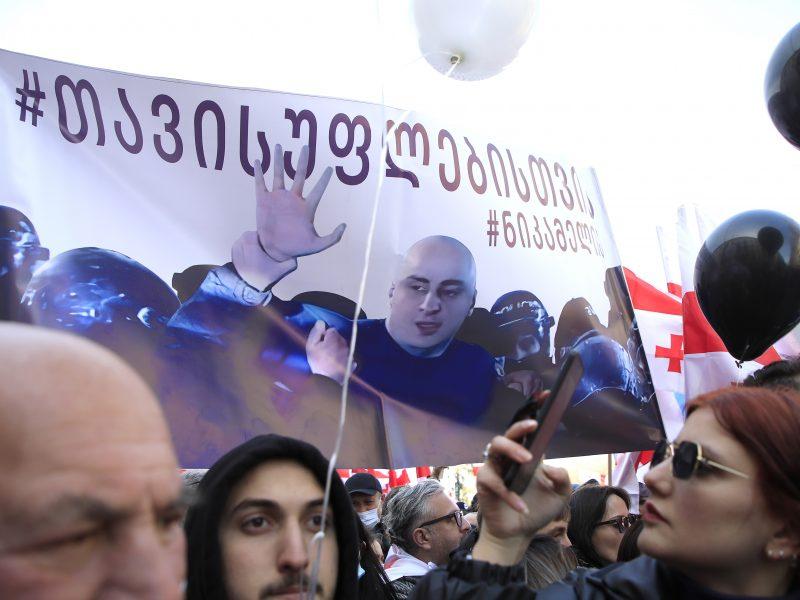 Sakartvele tęsiasi protestai prieš opozicijos lyderio areštą
