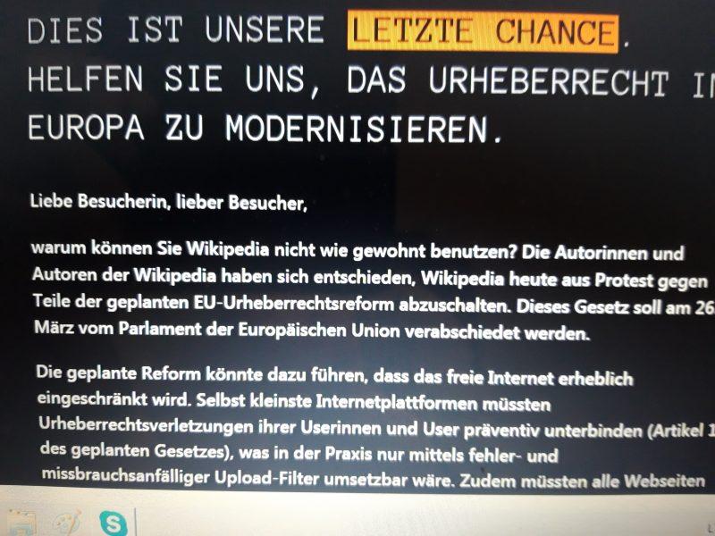 """""""Wikipedia"""" vokiška versija išjungta protestuojant prieš ES autorių teisių planą"""