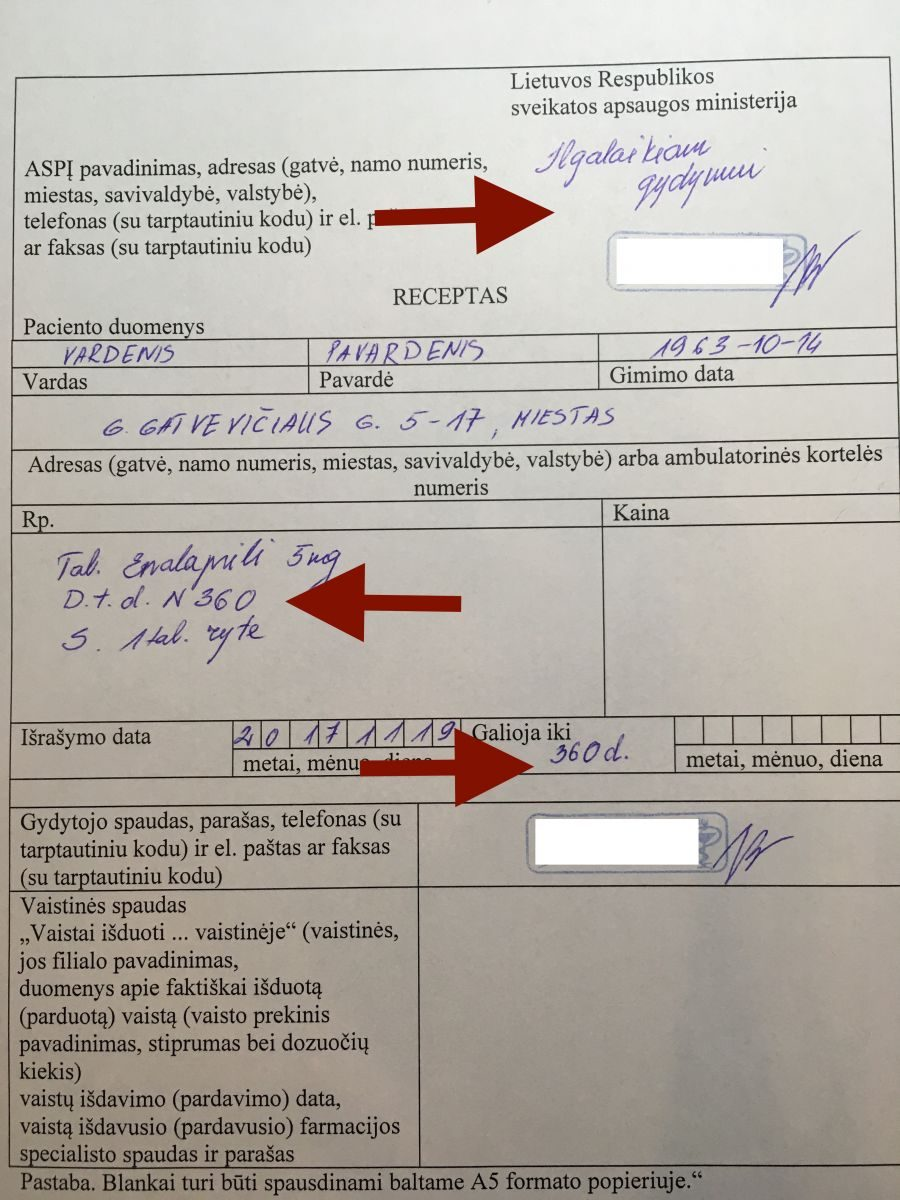 receptinių vaistų nuo hipertenzijos sąrašas)