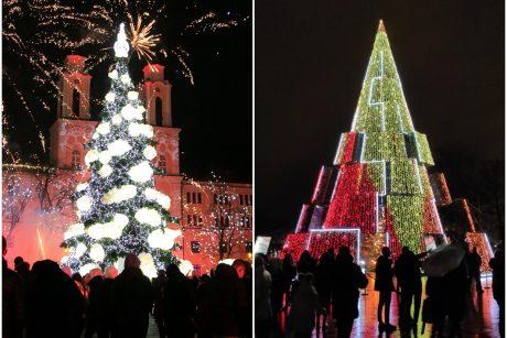 Labai skirtingos, todėl vertos palyginimo: Vilniaus ar Kauno eglė jums patiko labiau?