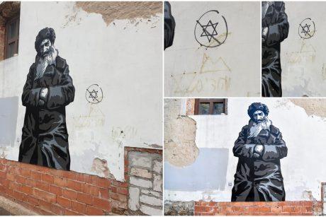 Vilniaus senamiestyje nutupdytą meno kūrinį išniekino antisemitiniais simboliais